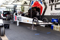 Antron Brown's Top Fuel dragster getting ready to qualify