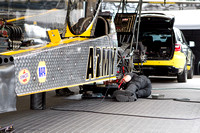 Tony Schumacher's Go Army Top Fuel dragster being worked on